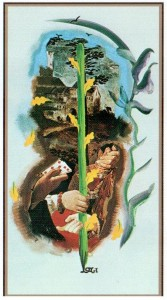 Туз Жезлов  в Таро Сальвадора Дали (Dali Universal Tarot)