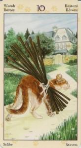 10 Масть Жезлов Таро Языческих Кошек (Tarot of Pagan Cats)