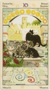 10 Масть Пентаклей Таро Языческих Кошек (Tarot of Pagan Cats)