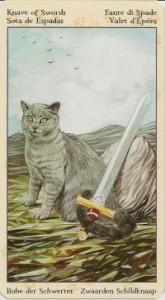 Паж Масть Мечей Таро Языческих Кошек (Tarot of Pagan Cats)
