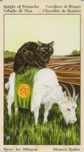 Рыцарь Масть Пентаклей Таро Языческих Кошек (Tarot of Pagan Cats)