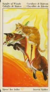 Рыцарь Масть Жезлов Таро Языческих Кошек (Tarot of Pagan Cats)
