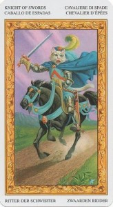 12 Рыцарь Масть Мечей Таро белых кошек (Tarot of White Cats)