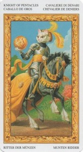 Рыцарь Масть Пентаклей Таро белых кошек (Tarot of White Cats)