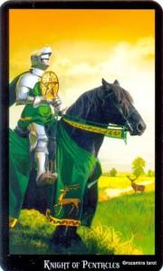 Рыцарь Масть Пентаклей Колдовское Таро Элен Дюген