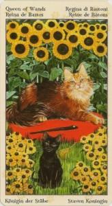 Королева Масть Жезлов Таро Языческих Кошек (Tarot of Pagan Cats)