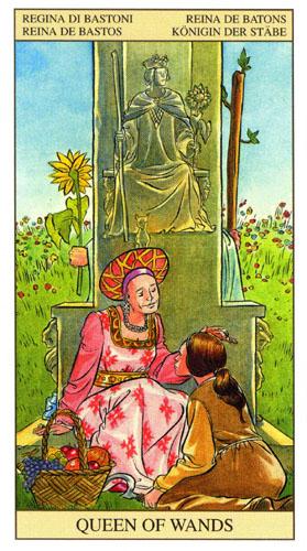 Дама Королева Масть Жезлов Таро Нью Вижн (Tarot of the New Vision)