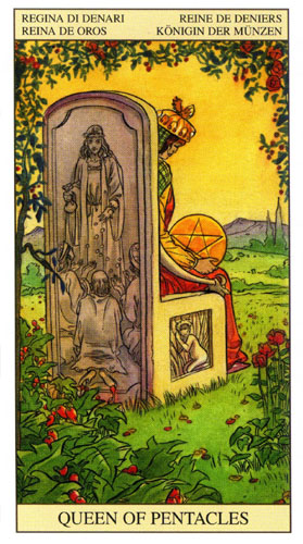 Королева Масть Пентаклей Таро Нью Вижн (Tarot of the New Vision)