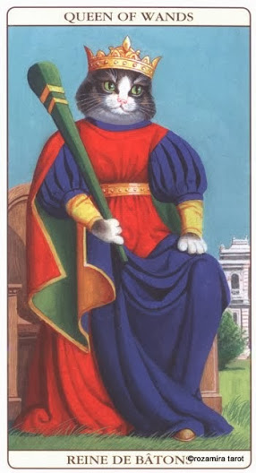 Королева Жезлов Таро Марсельских кошек (Marseille Cat Tarot)