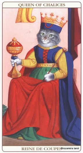 Королева Кубков Таро Марсельских кошек (Marseille Cat Tarot)