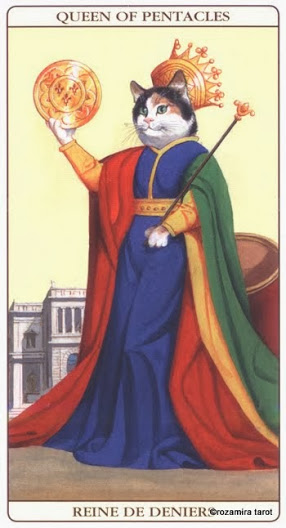 Дама Масть Пентаклей Таро Марсельских кошек (Marseille Cat Tarot)