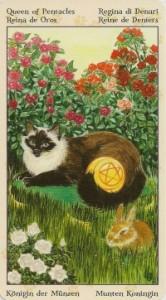 Королева Масть Пентаклей Таро Языческих Кошек (Tarot of Pagan Cats)