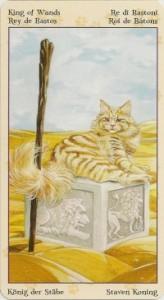 Король Масть Жезлов Таро Языческих Кошек (Tarot of Pagan Cats)