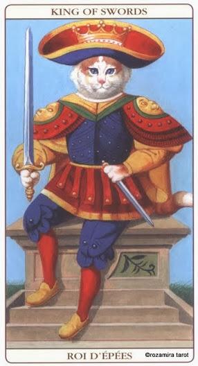 Король Масть Мечей Таро Марсельских кошек (Marseille Cat Tarot)