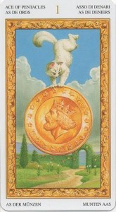 Туз Масть Пентаклей Таро белых кошек (Tarot of White Cats)