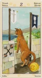2 Масть Жезлов Таро Языческих Кошек (Tarot of Pagan Cats)