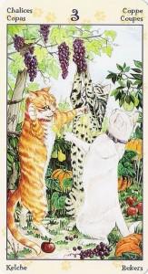 3 Кубков Таро Языческих Кошек (Tarot of Pagan Cats)