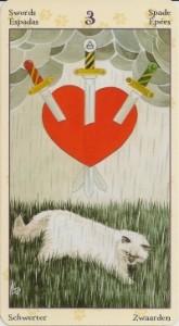 3 Масть Мечей Таро Языческих Кошек (Tarot of Pagan Cats)