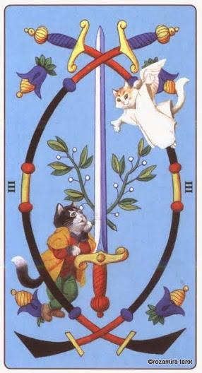 3 Масть Мечей Таро Марсельских кошек (Marseille Cat Tarot)