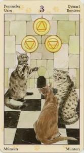 3 Масть Пентаклей Таро Языческих Кошек (Tarot of Pagan Cats)