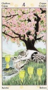 4 Кубков Таро Языческих Кошек (Tarot of Pagan Cats)