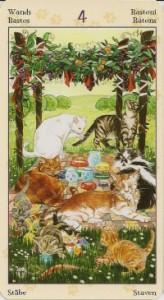 4 Масть Жезлов Таро Языческих Кошек (Tarot of Pagan Cats)