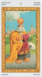 4 Масть Пентаклей Таро белых кошек (Tarot of White Cats)