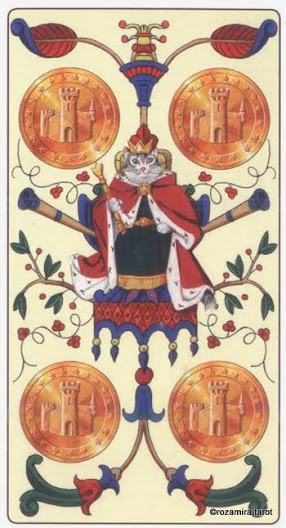 4 Масть Пентаклей Таро Марсельских кошек (Marseille Cat Tarot)