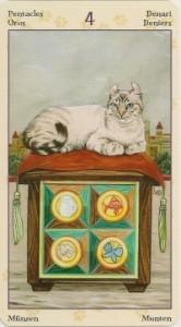 4 Масть Пентаклей Таро Языческих Кошек (Tarot of Pagan Cats)
