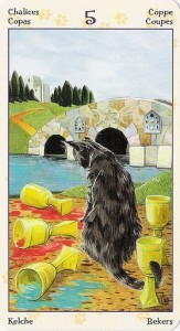 5 Кубков Таро Языческих Кошек (Tarot of Pagan Cats)