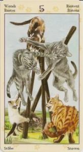 5 Масть Жезлов Таро Языческих Кошек (Tarot of Pagan Cats)