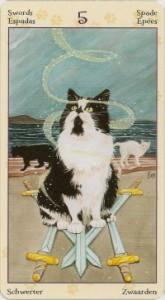 5 Масть Мечей Таро Языческих Кошек (Tarot of Pagan Cats)