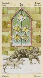5 Масть Пентаклей Таро Языческих Кошек (Tarot of Pagan Cats)