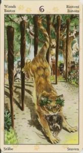 6 Масть Жезлов Таро Языческих Кошек (Tarot of Pagan Cats)