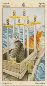 6 Масть Мечей Таро Языческих Кошек (Tarot of Pagan Cats)