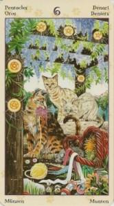 6 Масть Пентаклей Таро Языческих Кошек (Tarot of Pagan Cats)