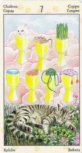 7 Кубков Таро Языческих Кошек (Tarot of Pagan Cats)