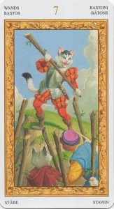 7 Масть Жезлов Таро белых кошек (Tarot of White Cats)