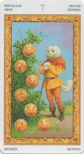 7 Масть Пентаклей Таро белых кошек (Tarot of White Cats)