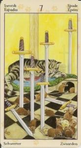 7 Масть Мечей Таро Языческих Кошек (Tarot of Pagan Cats)