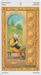 8 Масть Пентаклей Таро белых кошек (Tarot of White Cats)
