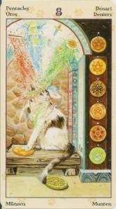 8 Масть Пентаклей Таро Языческих Кошек (Tarot of Pagan Cats)