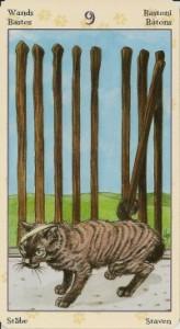 9 Масть Жезлов Таро Языческих Кошек (Tarot of Pagan Cats)