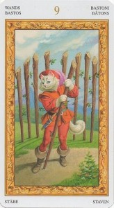 9 Масть Жезлов Таро белых кошек (Tarot of White Cats)