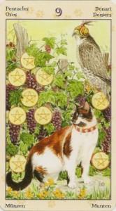 9 Масть Пентаклей Таро Языческих Кошек (Tarot of Pagan Cats)